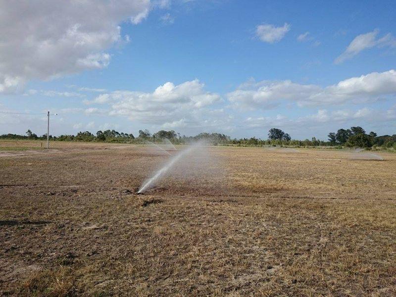 Área de um dos campos no CT da Sanga Funda recebe irrigação para futuro plantio de grama
