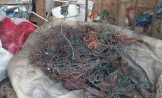 Polícia apreende150kg de fios e cabos  furtados de empresas de telefonia