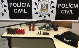 Armas e munições apreendidas em ação policial