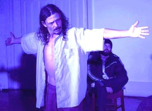 JESUS é o personagem interpretado pelo ator Teci Pereira Jr (Foto). Na encenação, ele se transforma e personifica o calvário e últimos momentos de Jesus Crito. Na trajetória artística de Teci, diferentes personagens e projetos no teatro e cinema