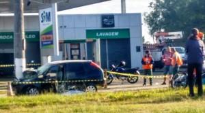 Na manhã de domingo houve forte colisão na proximidade da  Rodoviária