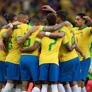 Jogadores unidos na goleada por 7 a 0 no Beira-Rio Foto: Lucas Figueiredo / CBF