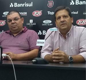 Ricardinho e Edu Pesce no anúncio da parceria Foto: Fernando Monassa / Rádio Pelotense