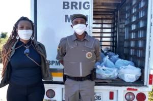 Apoio da BM para a entrega das cestas