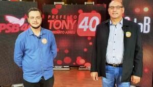 Candidato a prefeito Tony Sechi do PSB, e vice Renato Abreu do PCdoB