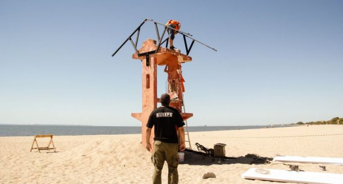 Projeto Mão de Obra Prisional reforma guarita de salva-vidas no Laranjal